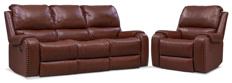Living Room Furniture - Austin Manual Reclining Sofa and Recliner Set