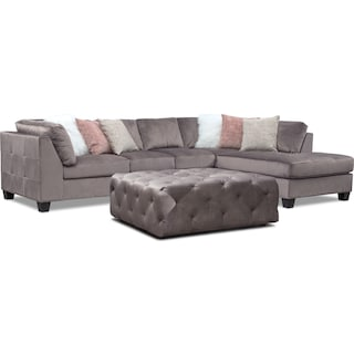 Mackenzie 2-Piece Right-Facing Sectional and Ottoman Set - Gray
