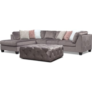 Mackenzie 2-Piece Left-Facing Sectional and Ottoman Set - Gray