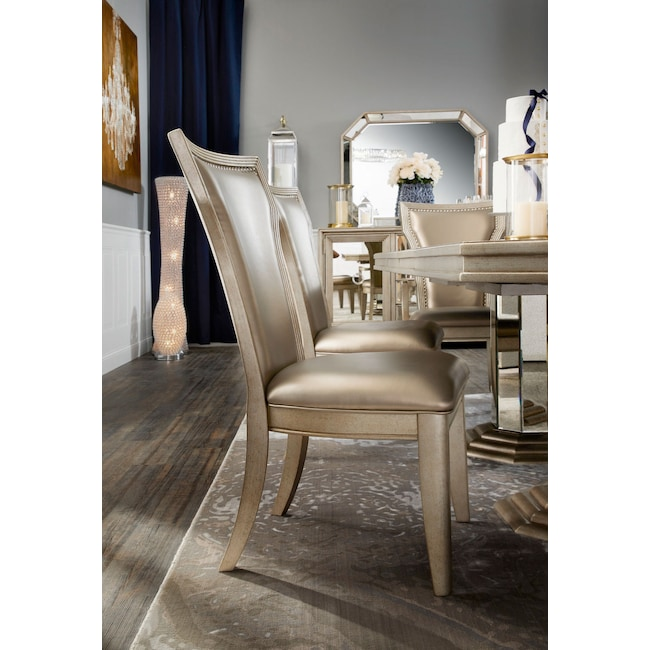 95a4e9b9f7ea Angelina Double-Pedestal Table, Two Arm Chairs and 4 Side Chairs - Metallic  | American Signature Furniture