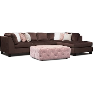 Mackenzie 2-Piece Right-Facing Sectional with Ottoman - Brown and Blush