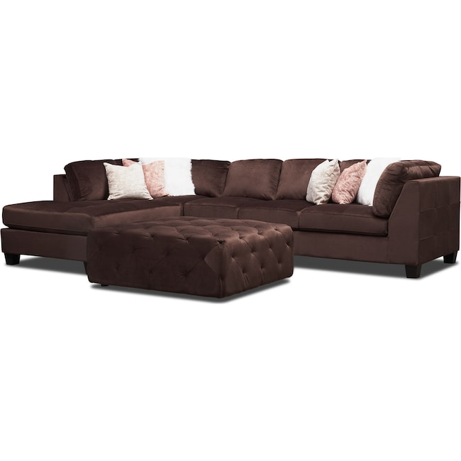 Living Room Furniture - Mackenzie 2-Piece Sectional with Accent Pillows + FREE OTTOMAN