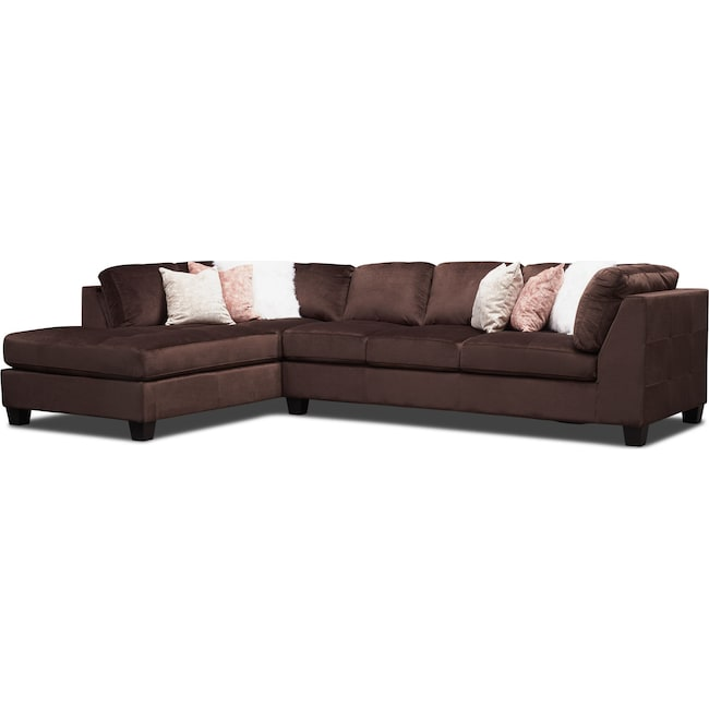 Living Room Furniture - Mackenzie 2-Piece Sectional with Left-Facing Chaise - Brown