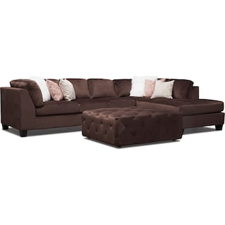 Mackenzie 2-Piece Right-Facing Sectional with Ottoman - Brown