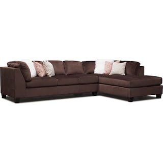 Mackenzie 2-Piece Sectional with Right-Facing Chaise - Brown