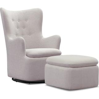 Addie Swivel Chair and Ottoman Set - Gray