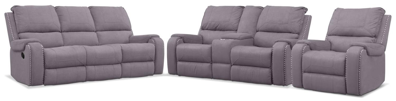 Living Room Furniture - Austin Manual Reclining Sofa, Loveseat and Recliner