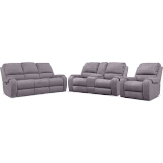 Austin Dual-Power Reclining Sofa, Loveseat and Recliner - Gray