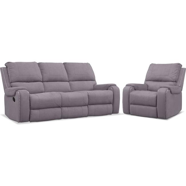 Living Room Furniture - Austin Manual Reclining Sofa and Recliner Set - Gray