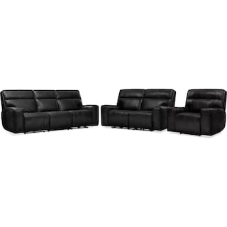 Bradley Triple-Power Reclining Sofa, Loveseat and Recliner - Black