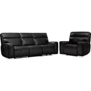 Bradley Triple-Power Reclining Sofa and Recliner Set - Black