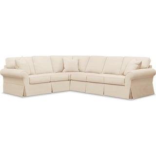 Sawyer 2 Piece Slipcover Sectional with Right-Facing Sofa - Beige