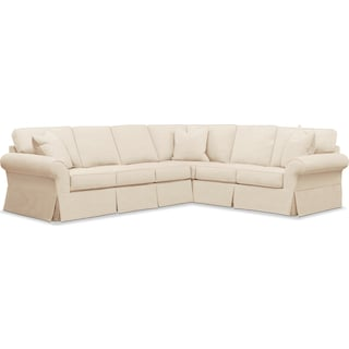 Sawyer 2 Piece Slipcover Sectional with Left-Facing Sofa - Beige