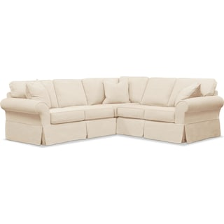 Sawyer 2 Piece Slipcover Sectional with Right-Facing Loveseat - Beige