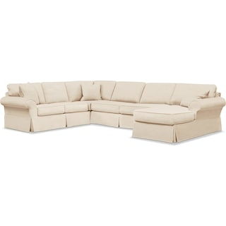 Sawyer 3 Piece Slipcover Sectional with Right-Facing Chaise - Beige