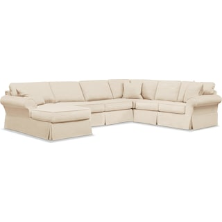 Sawyer 3 Piece Slipcover Sectional with Left-Facing Chaise - Beige