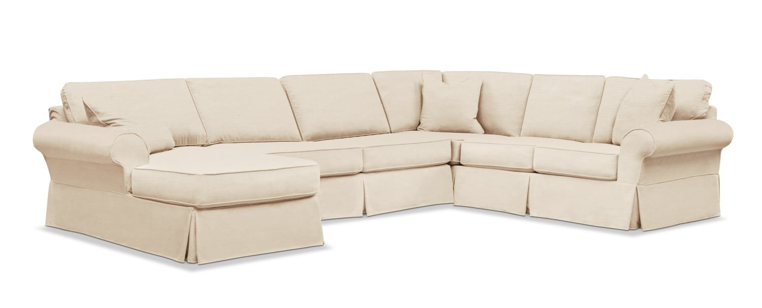 Living Room Furniture   Sawyer 3 Piece Slipcover Sectional With Chaise