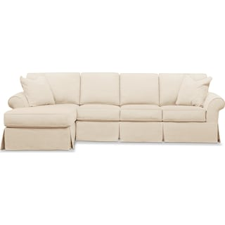 Sawyer 2-Piece Slipcover Sectional with Right-Facing Sofa and Left-Facing Chaise - Beige