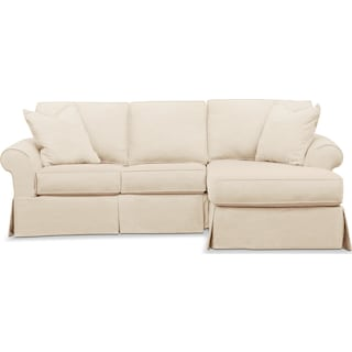 Sawyer 2 Piece Slipcover Sectional with Left-Facing Loveseat and Right-Facing Chaise - Beige