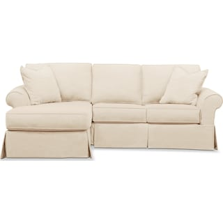 Sawyer 2 Piece Slipcover Sectional with Right-Facing Loveseat and Left-Facing Chaise - Beige