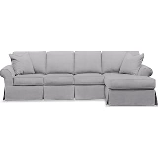 Sawyer 2 Piece Slipcover Sectional with Left-Facing Sofa and Right-Facing Chaise - Gray