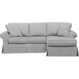 Sawyer 2 Piece Slipcover Sectional with Left-Facing Loveseat and Right-Facing Chaise - Gray