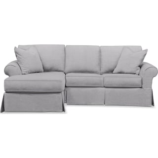 Sawyer 2 Piece Slipcover Sectional with Right-Facing Loveseat and Left-Facing Chaise - Gray