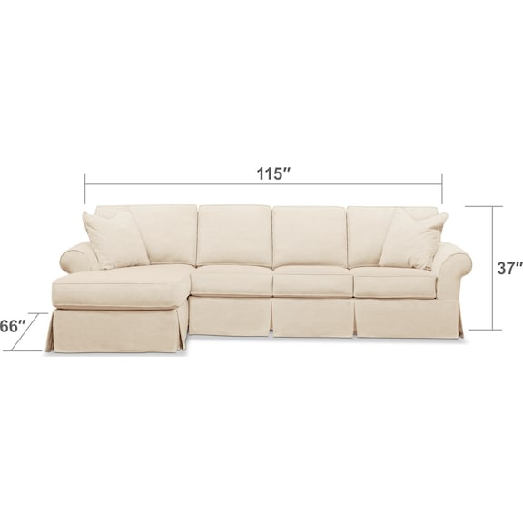 Living Room Furniture - Sawyer 2-Piece Large Slipcover Sectional with Chaise