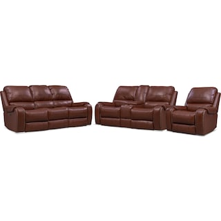 Austin Dual-Power Reclining Sofa, Loveseat and Recliner - Brown