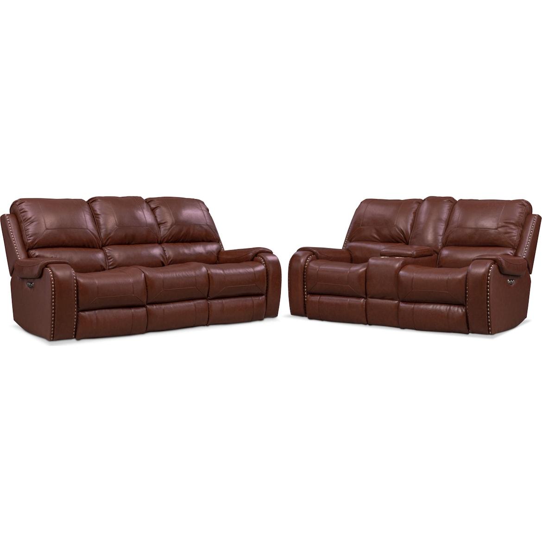 Austin Dual Power Reclining Sofa And Loveseat Set