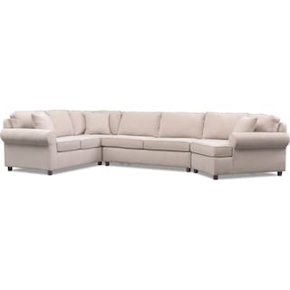 Ashton 3-Piece Sectional with Right-Facing Cuddler - Ivory
