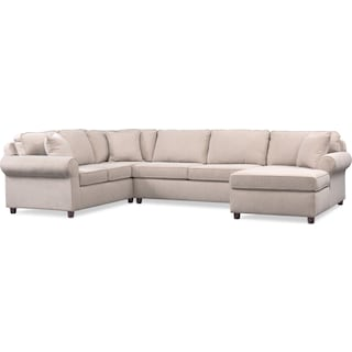 Ashton 3-Piece Sectional with Right-Facing Chaise - Ivory