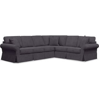 Sawyer 2-Piece Slipcover Sectional with Left-Facing Sofa - Boulder Black