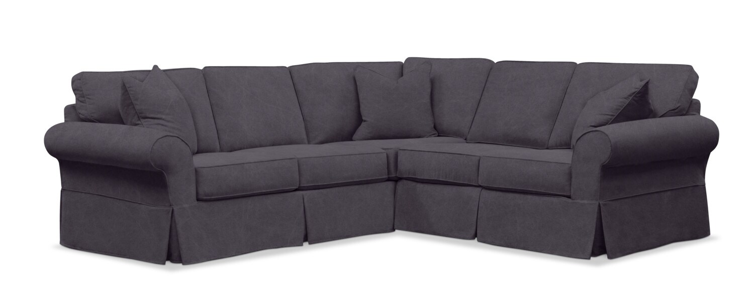 Living Room Furniture - Sawyer 2-Piece Slipcover Sectional with Sofa and Loveseat