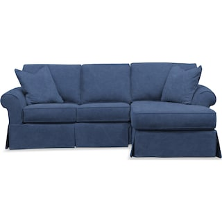 Sawyer 2 Piece Slipcover Sectional with Left-Facing Loveseat and Right-Facing Chaise - Boulder Denim