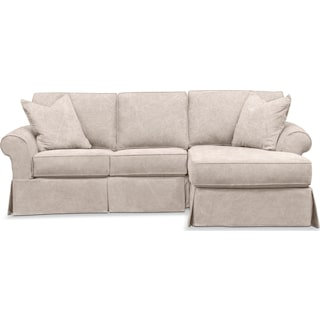 Sawyer 2 Piece Slipcover Sectional with Left-Facing Loveseat and Right-Facing Chaise - Boulder Fawn
