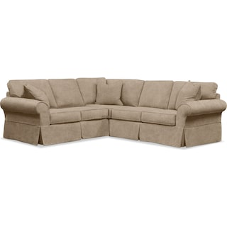 Sawyer 2 Piece Slipcover Sectional with Left-Facing Loveseat - Boulder Taupe
