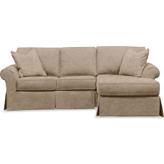 Sawyer 2 Piece Slipcover Sectional with Left-Facing Loveseat and Right-Facing Chaise - Boulder Taupe