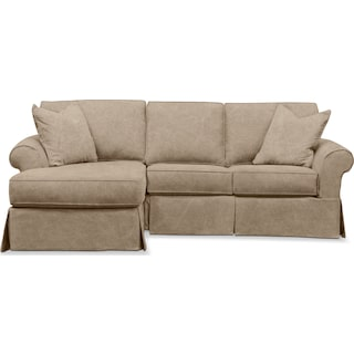 Sawyer 2 Piece Slipcover Sectional with Right-Facing Loveseat and Left-Facing Chaise - Boulder Taupe
