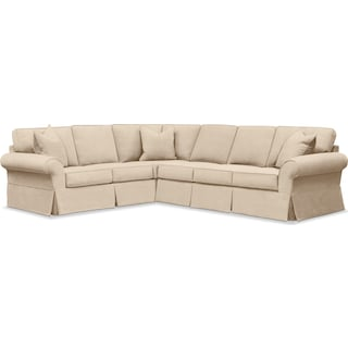 Sawyer 2 Piece Slipcover Sectional with Right-Facing Sofa - Essence Tan