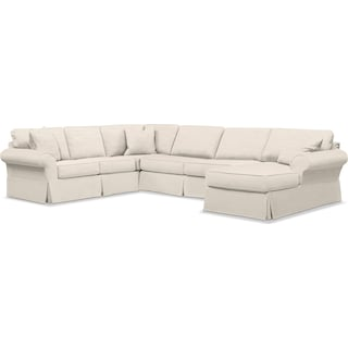 Sawyer 3-Piece Slipcover Sectional with Right-Facing Chaise - Fremont Cream