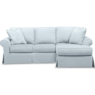 Sawyer 2 Piece Slipcover Sectional with Left-Facing Loveseat and Right-Facing Chaise - Fremont Sky