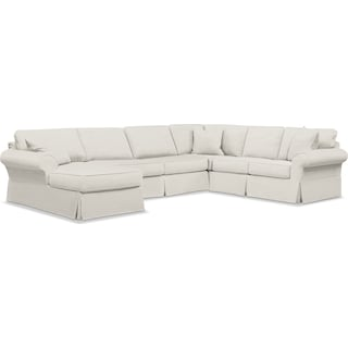Sawyer 3 Piece Slipcover Sectional with Left-Facing Chaise - Fremont Snow