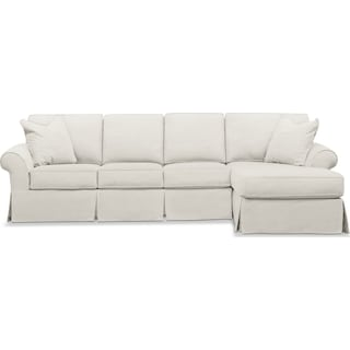 Sawyer 2-Piece Slipcover Sectional with Left-Facing Sofa and Right-Facing Chaise - Fremont Snow
