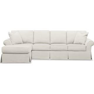 Sawyer 2 Piece Slipcover Sectional with Right-Facing Sofa and Left-Facing Chaise - Fremont Snow