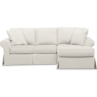 Sawyer 2 Piece Slipcover Sectional with Left-Facing Loveseat and Right-Facing Chaise - Fremont Snow