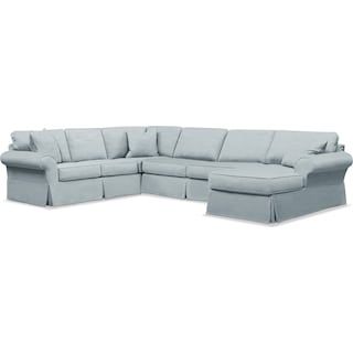 Sawyer 3 Piece Slipcover Sectional with Right-Facing Chaise - Intern Sky