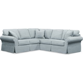 Sawyer 2-Piece Slipcover Sectional with Left-Facing Loveseat - Intern Sky