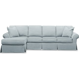 Sawyer 2 Piece Slipcover Sectional with Right-Facing Sofa and Left-Facing Chaise - Intern Sky