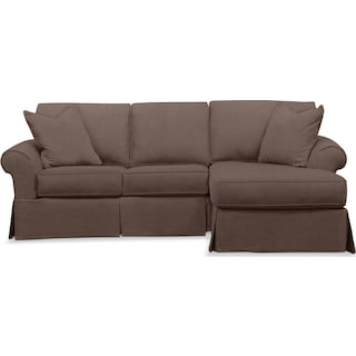 Sawyer 2 Piece Slipcover Sectional with Left-Facing Loveseat and Right-Facing Chaise - Intern Tobacc